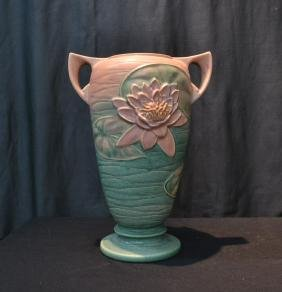 """ROSEVILLE """"PINK WATER LILY"""" TWIN HANDLE VASE"""