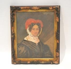 """19thC OIL PAINTING OF OLD LADY - 15"""" x 18"""""""
