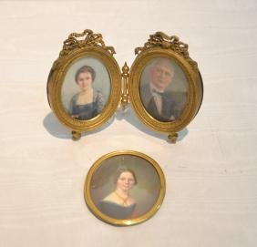 HAND PAINTED MINIATURE PORTRAITS OF MAN & WOMAN