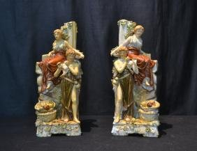 (Pr) GERMAN PORCELAIN FIGURAL VASES DEPICTING