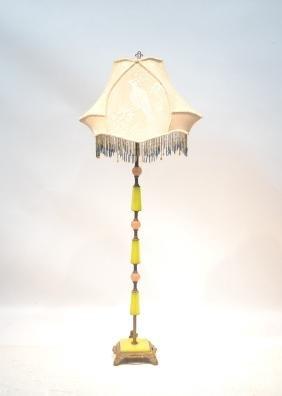 DECO CHROME & STONE FLOOR LAMP