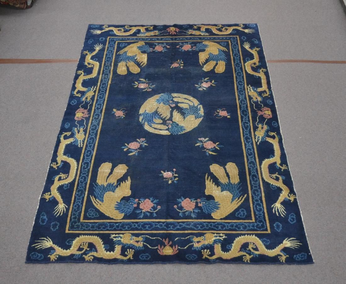 """6' 2"""" x 9' 2"""" BLUE CHINESE RUG WITH DRAGONS"""