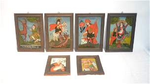 6 EARLY RELIGOUS REVERSE PAINTED ON GLASS ICONS