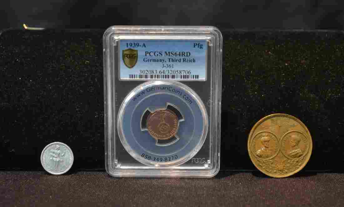 1939 -A GERMAN THIRD REICH 1 PFENNIG COIN ,