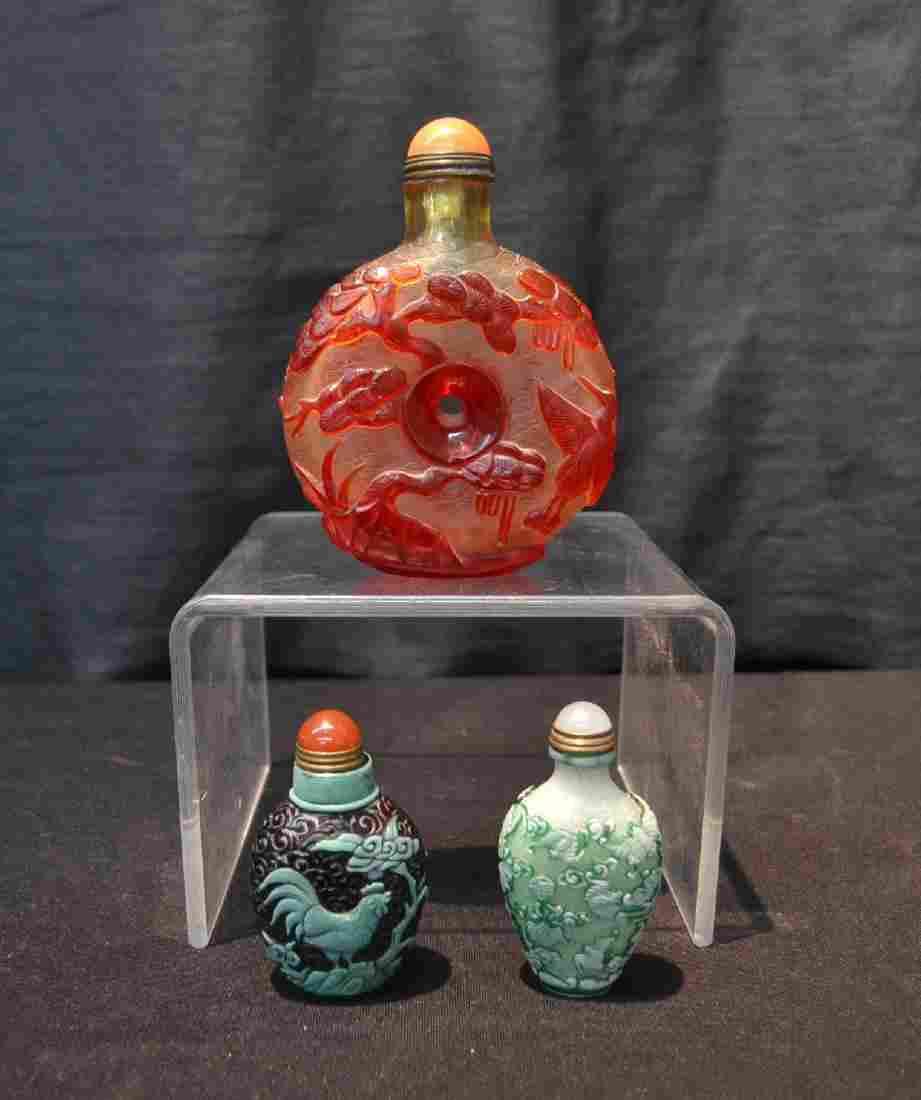 (3) PEKING GLASS OVERLAY SNUFF BOTTLES
