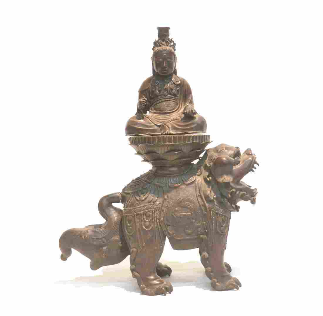 2-PART BRONZE FOO DOG WITH SEATED BUDDHA  ATOP