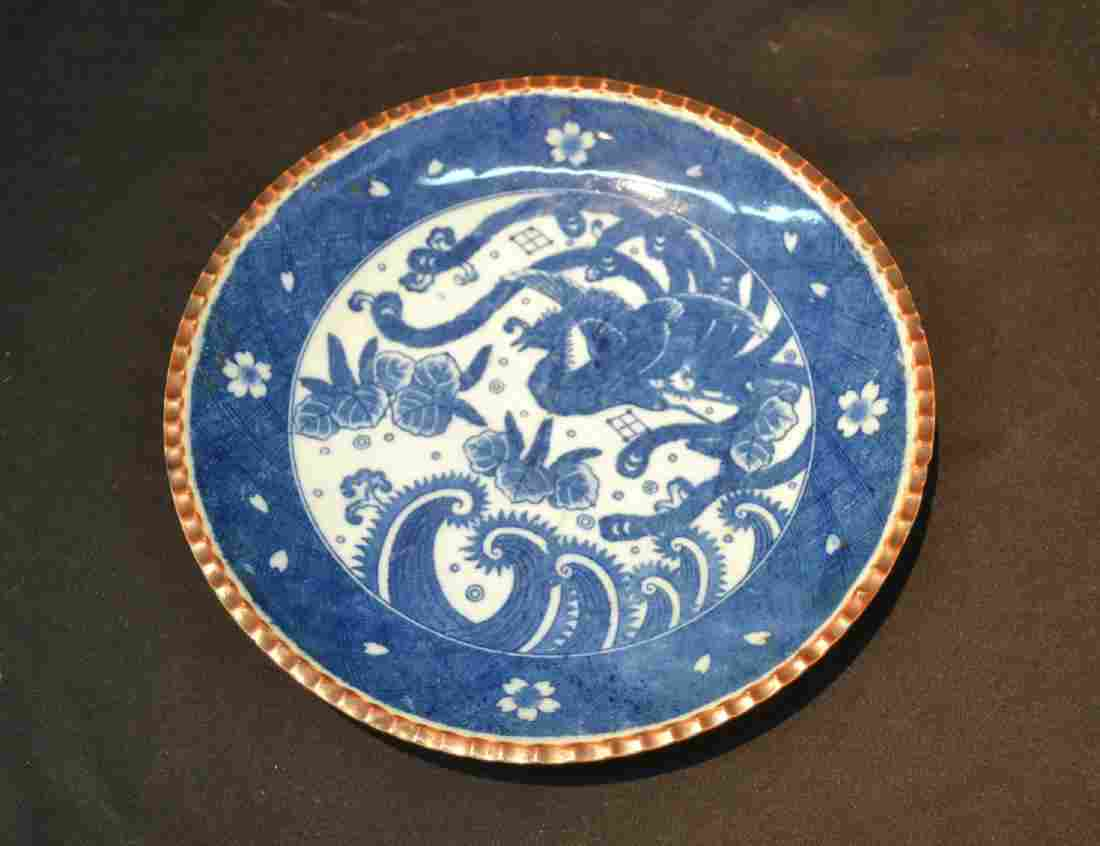 BLUE & WHITE CHINESE PORCELAIN PLATE - 12""