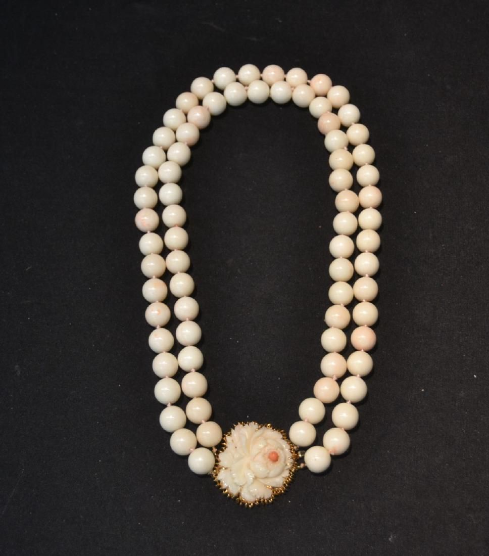 LARGE 12-14mm WHITE CORAL DOUBLE STRAND BEAD