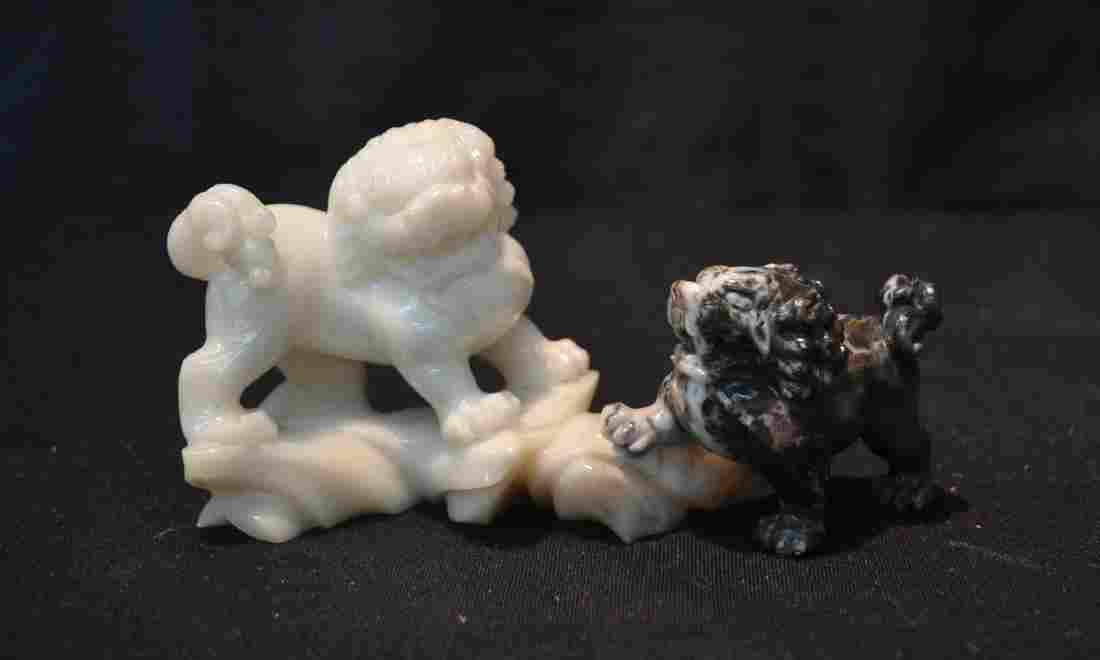 STONE BLACK & WHITE FOO DOG CARVING