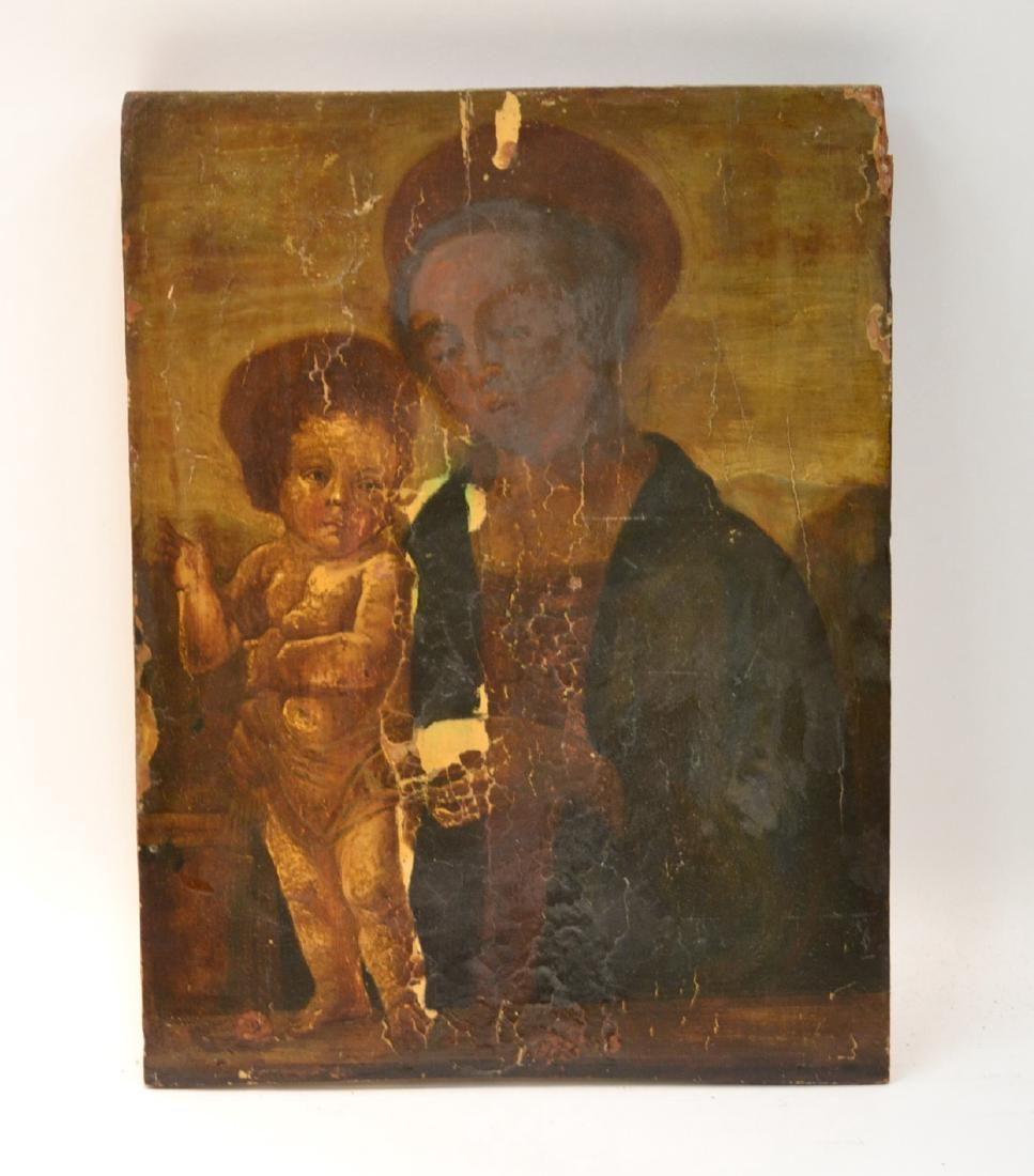 RELIGOUS OLD MASTER ON WOOD PANEL