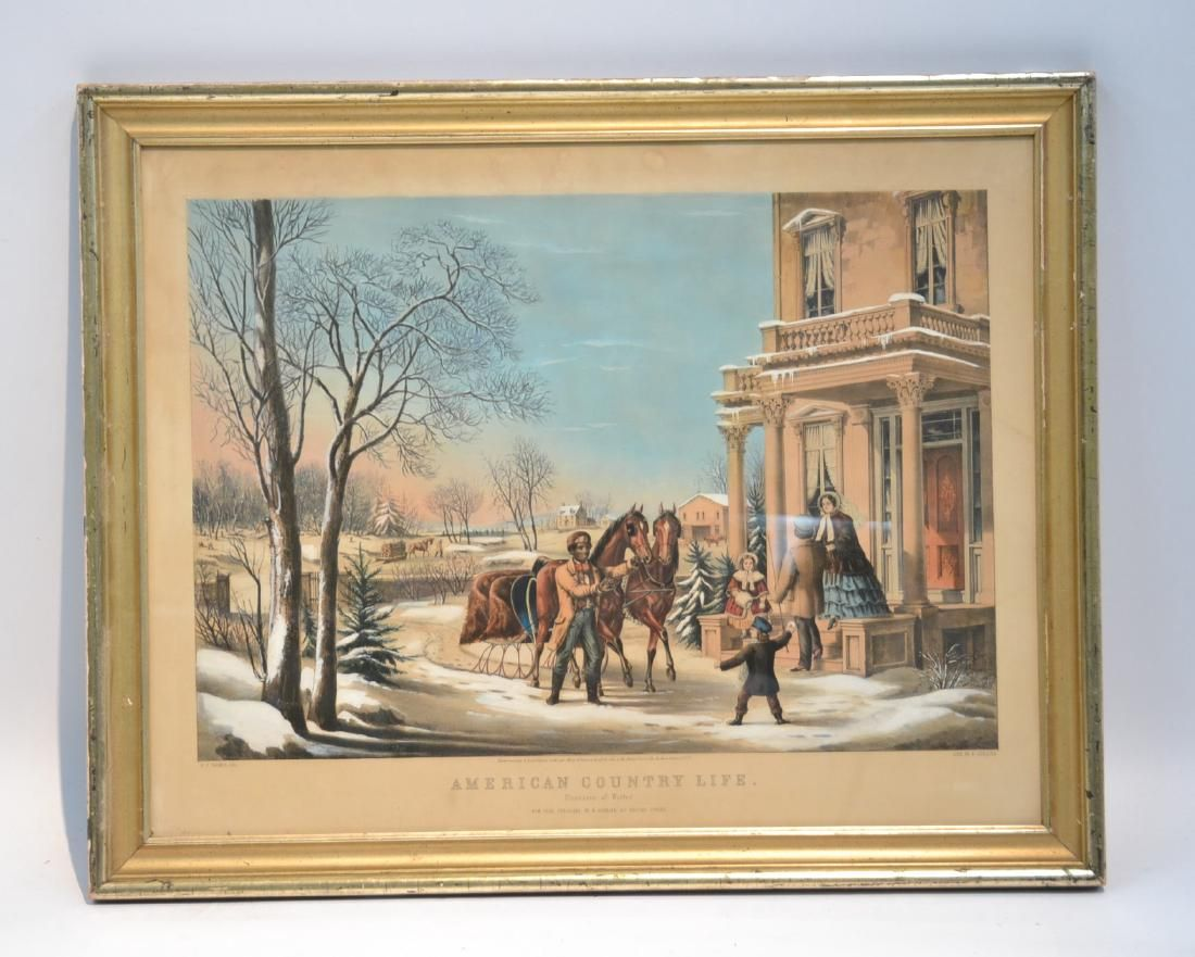 HAND COLORED CURRIER & IVES LITHOGRAPH