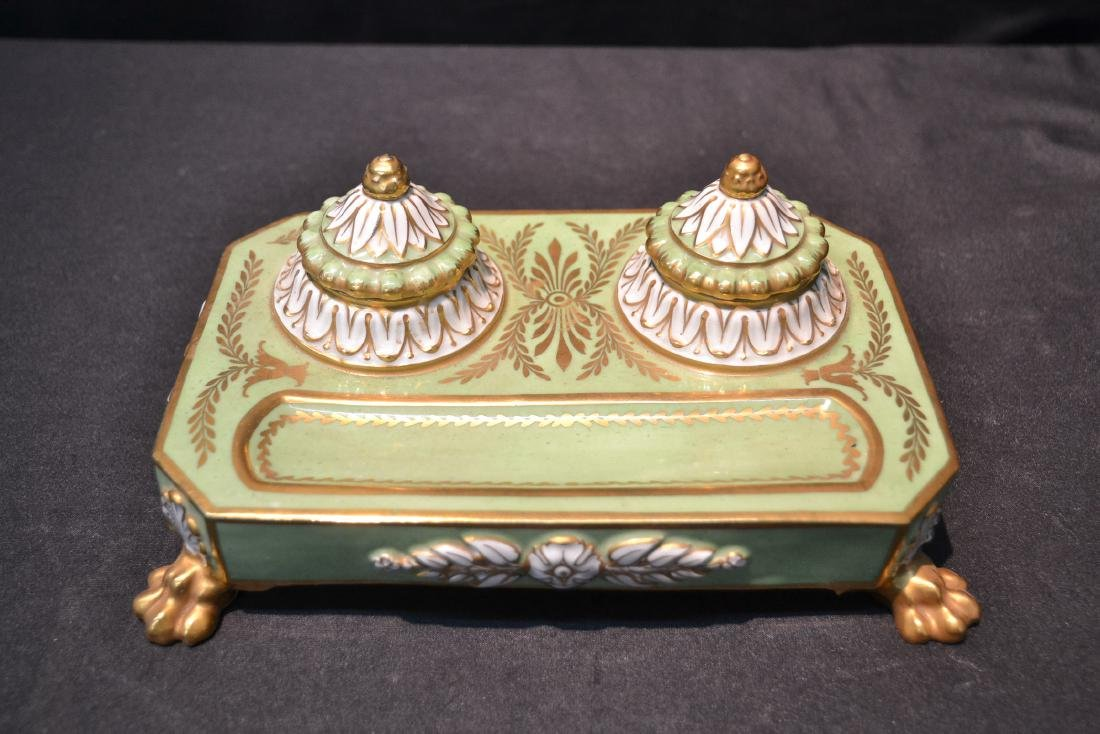 PORCELAIN DOUBLE INKWELL WITH CLAW FEET