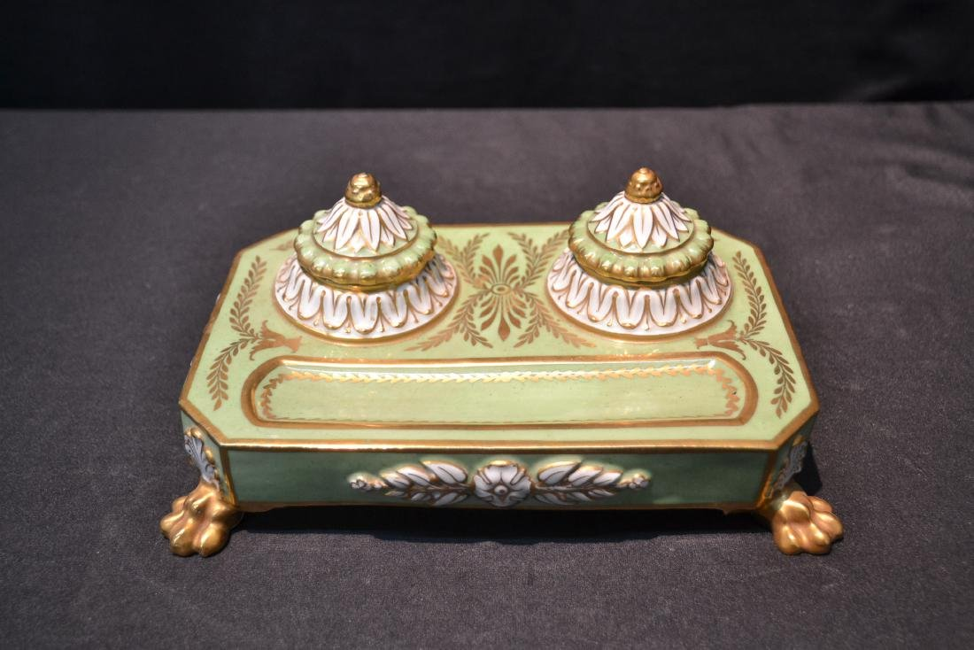 PORCELAIN DOUBLE INKWELL WITH CLAW FEET - 2