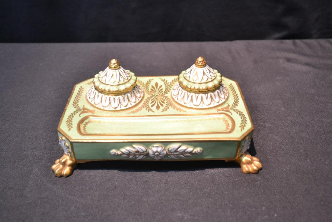 PORCELAIN DOUBLE INKWELL WITH CLAW FEET - 4