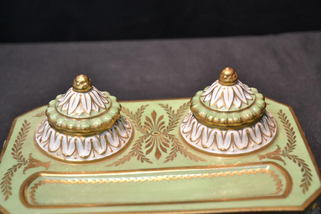 PORCELAIN DOUBLE INKWELL WITH CLAW FEET - 5