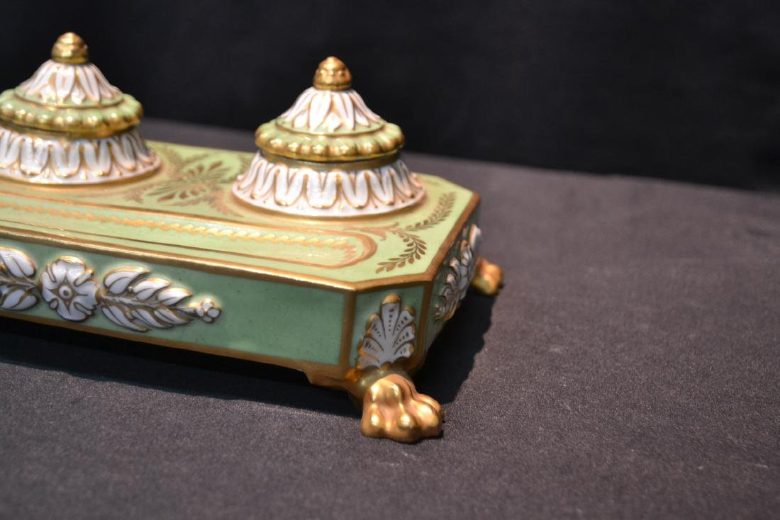 PORCELAIN DOUBLE INKWELL WITH CLAW FEET - 6
