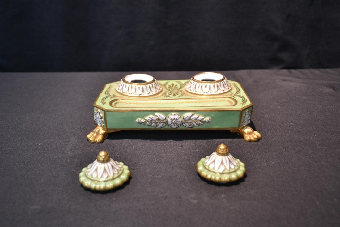 PORCELAIN DOUBLE INKWELL WITH CLAW FEET - 7