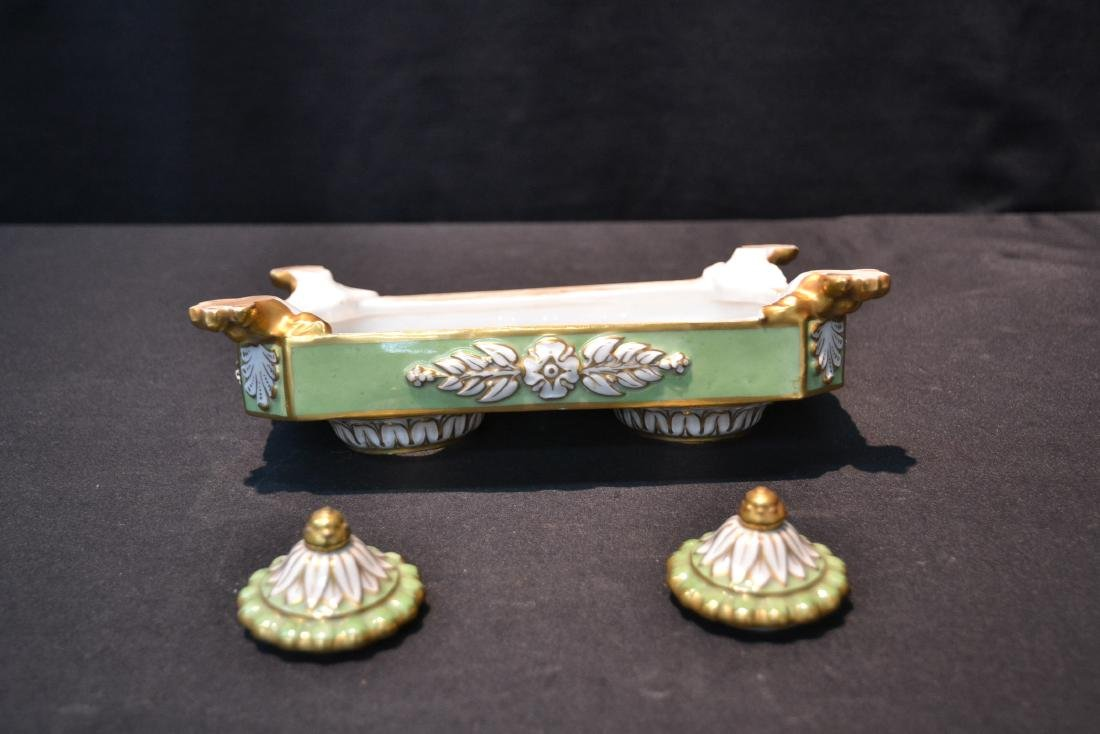 PORCELAIN DOUBLE INKWELL WITH CLAW FEET - 8