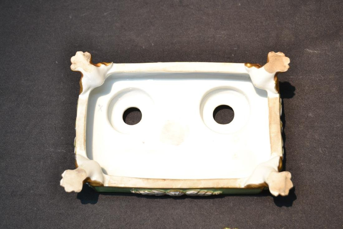 PORCELAIN DOUBLE INKWELL WITH CLAW FEET - 9