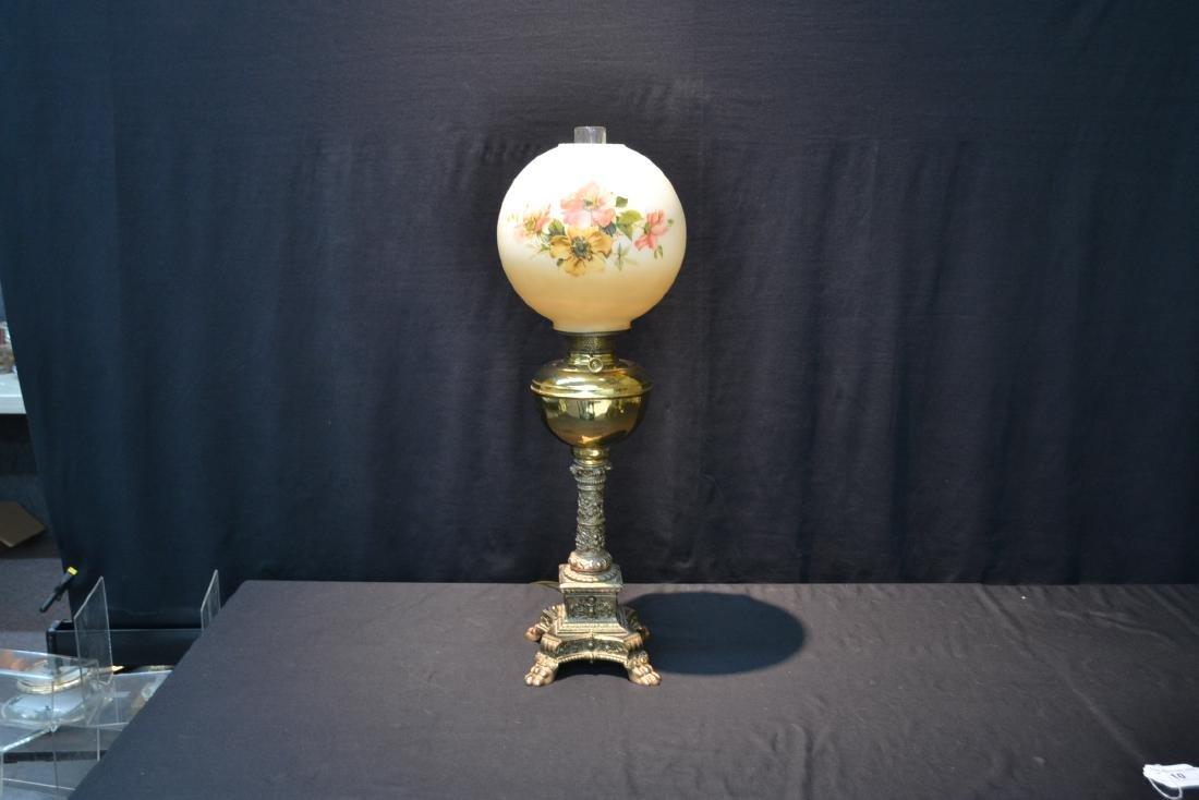 VICTORIAN B & H BRASS BANQUET ELECTRIFIED OIL LAMP - 10