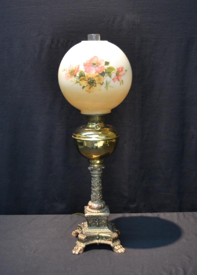 VICTORIAN B & H BRASS BANQUET ELECTRIFIED OIL LAMP