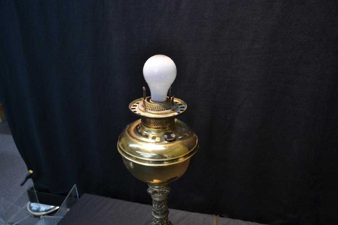 VICTORIAN B & H BRASS BANQUET ELECTRIFIED OIL LAMP - 6