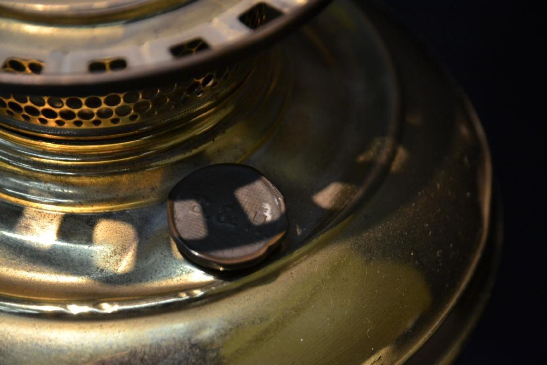 VICTORIAN B & H BRASS BANQUET ELECTRIFIED OIL LAMP - 7