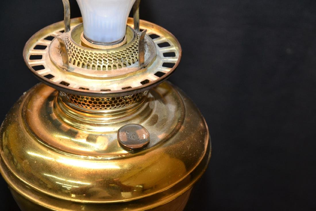 VICTORIAN B & H BRASS BANQUET ELECTRIFIED OIL LAMP - 8