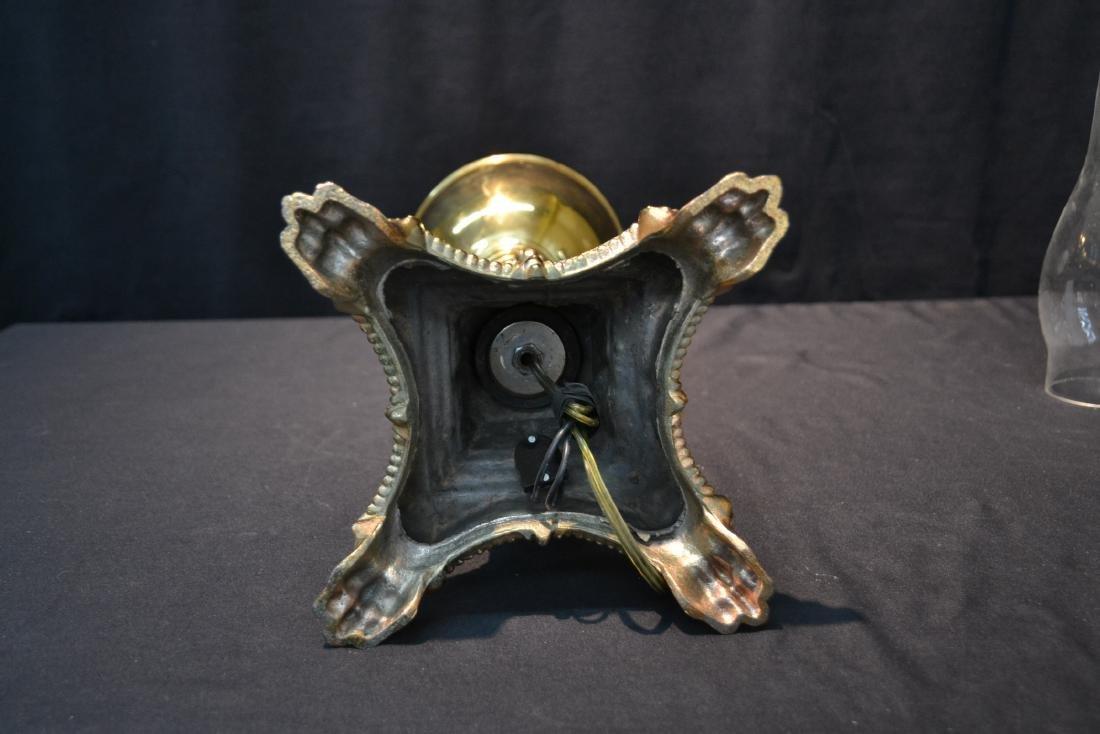 VICTORIAN B & H BRASS BANQUET ELECTRIFIED OIL LAMP - 9