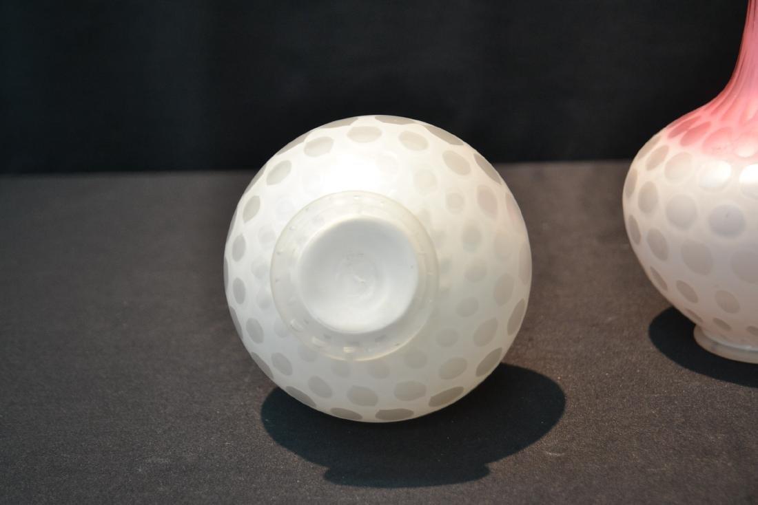 "(Pr) SATIN GLASS COIN DOT VASES - 5"" x 9 1/2"" - 5"