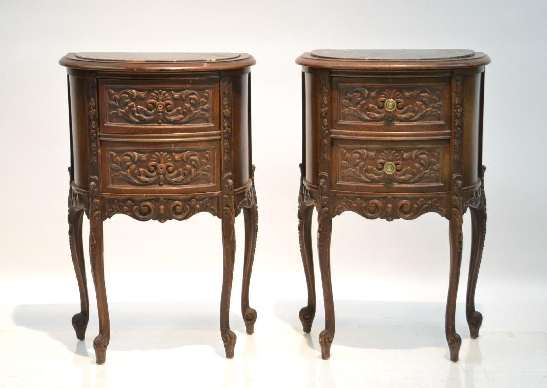 (Pr) CARVED WALNUT MARBLE TOP NIGHT STANDS