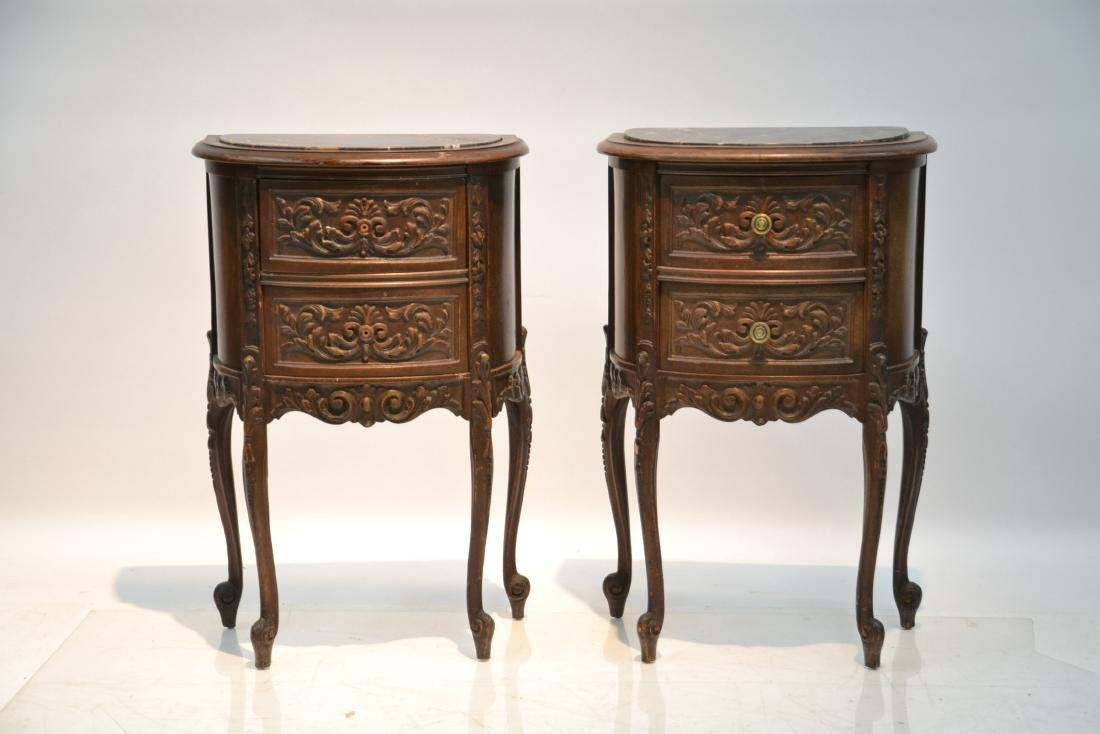 (Pr) CARVED WALNUT MARBLE TOP NIGHT STANDS - 2