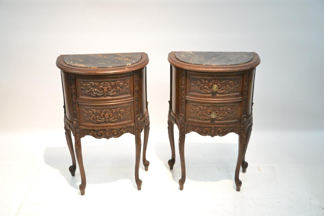 (Pr) CARVED WALNUT MARBLE TOP NIGHT STANDS - 3