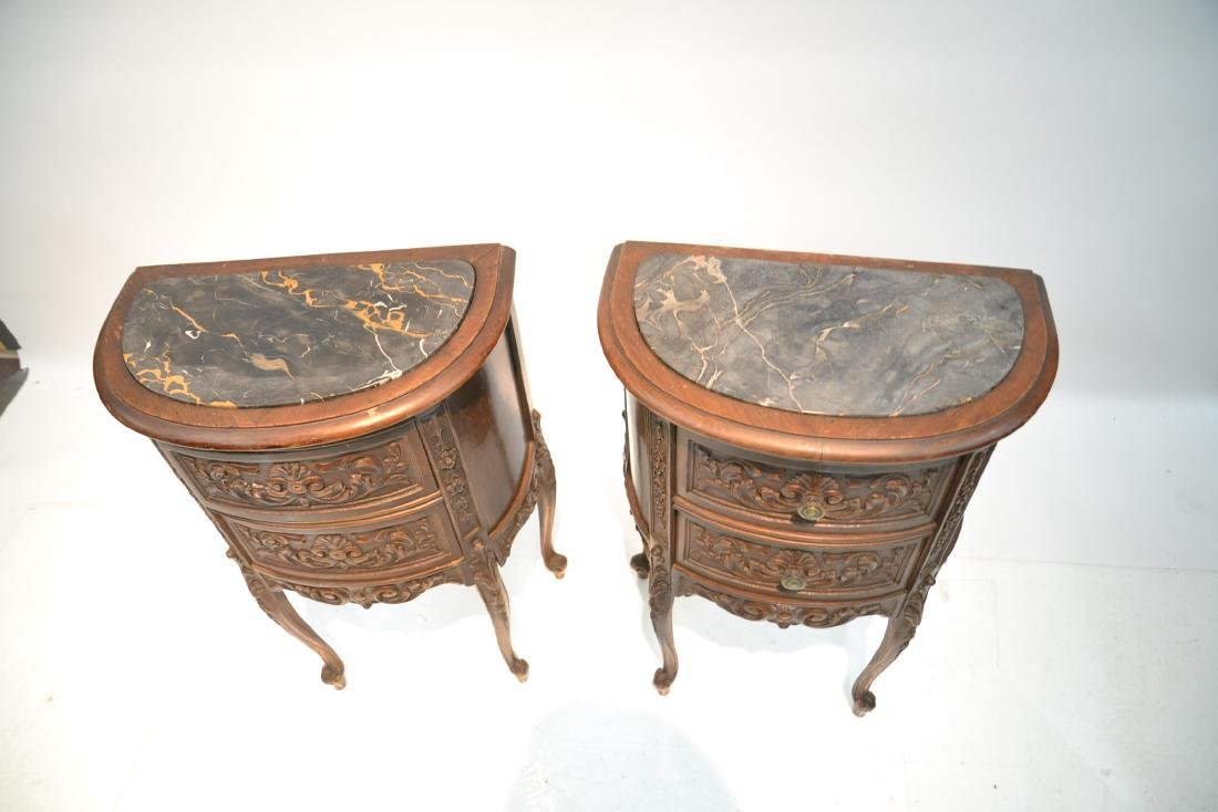 (Pr) CARVED WALNUT MARBLE TOP NIGHT STANDS - 5