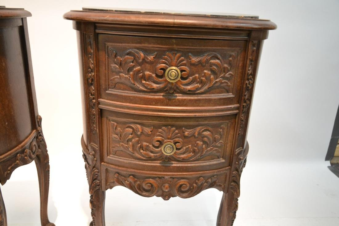 (Pr) CARVED WALNUT MARBLE TOP NIGHT STANDS - 6