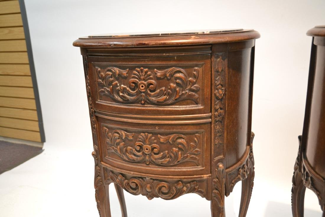 (Pr) CARVED WALNUT MARBLE TOP NIGHT STANDS - 7