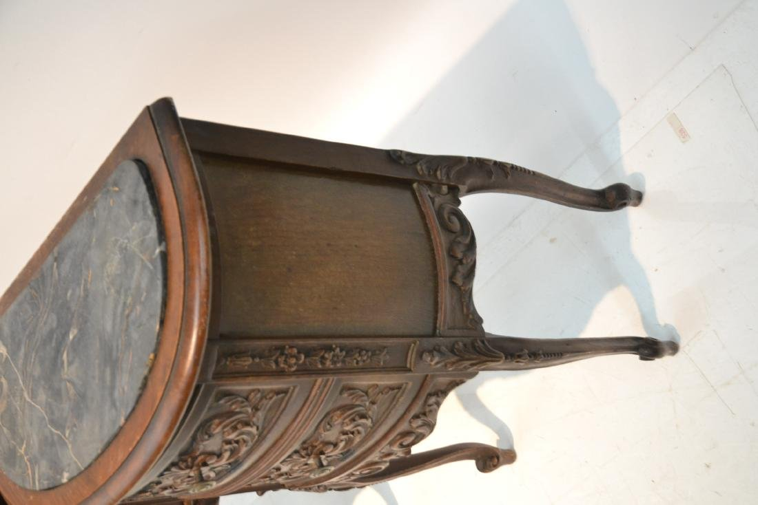 (Pr) CARVED WALNUT MARBLE TOP NIGHT STANDS - 8