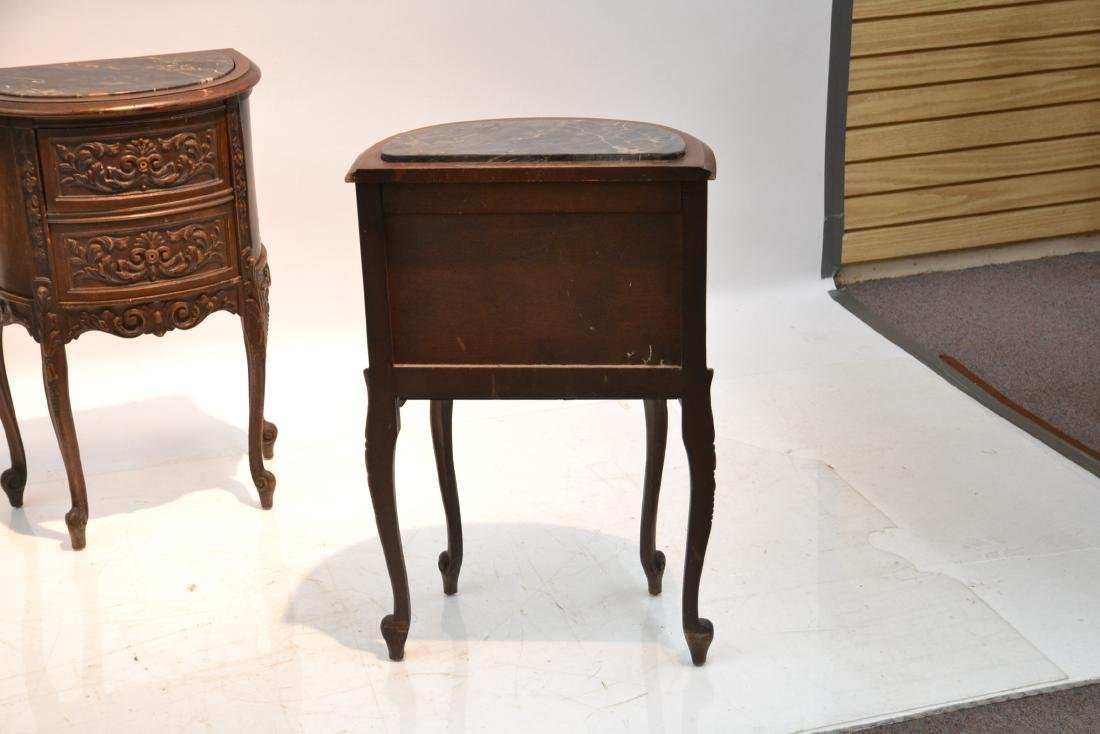 (Pr) CARVED WALNUT MARBLE TOP NIGHT STANDS - 9