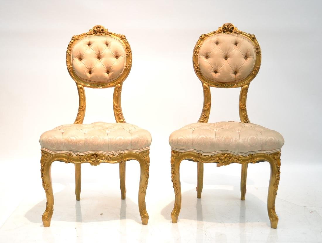 (Pr) CARVED GILT WOOD BOUDOIR CHARS WITH
