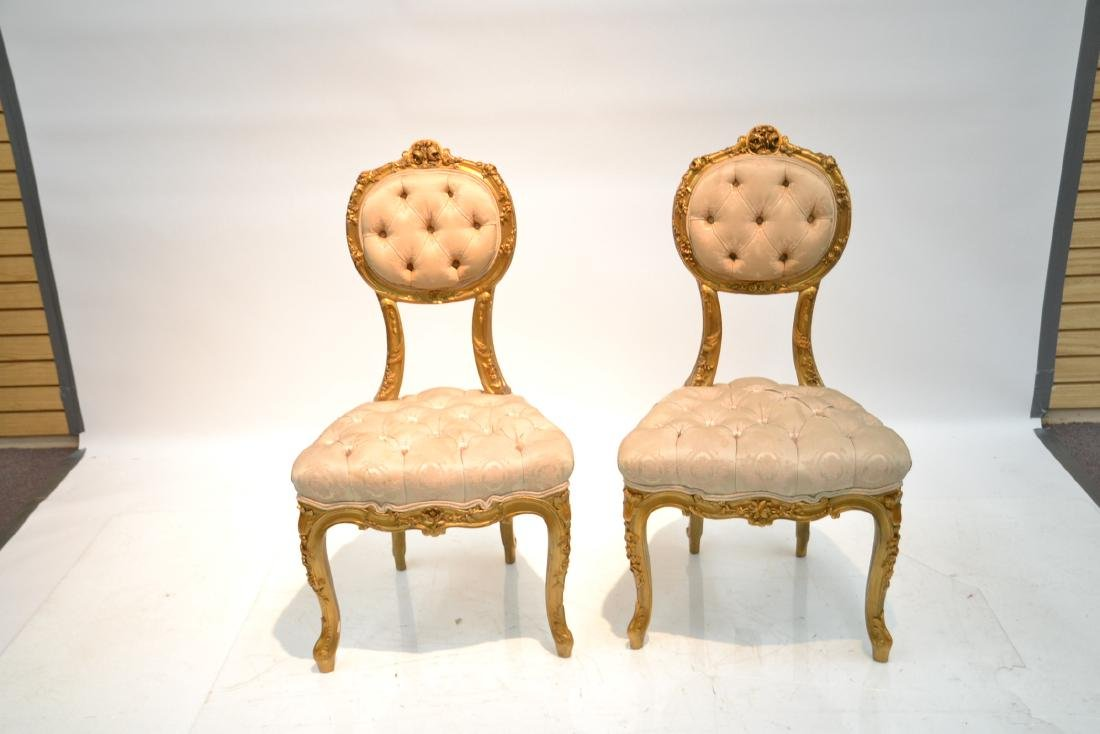 (Pr) CARVED GILT WOOD BOUDOIR CHARS WITH - 3