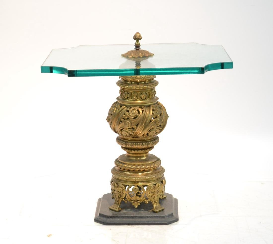 GLASS TOP SIDE TABLE WITH RETICULATED BRONZE