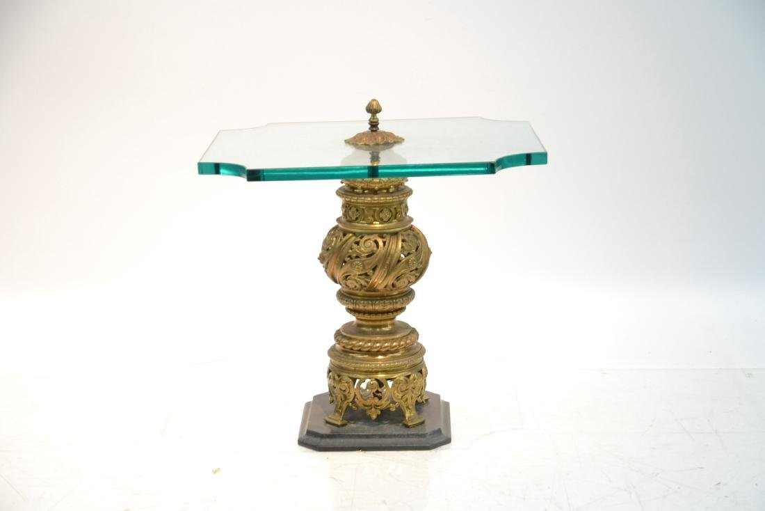 GLASS TOP SIDE TABLE WITH RETICULATED BRONZE - 2