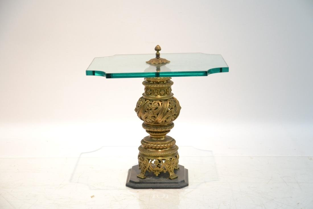 GLASS TOP SIDE TABLE WITH RETICULATED BRONZE - 3