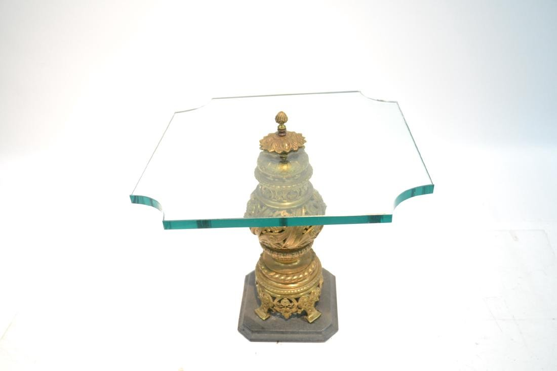 GLASS TOP SIDE TABLE WITH RETICULATED BRONZE - 5