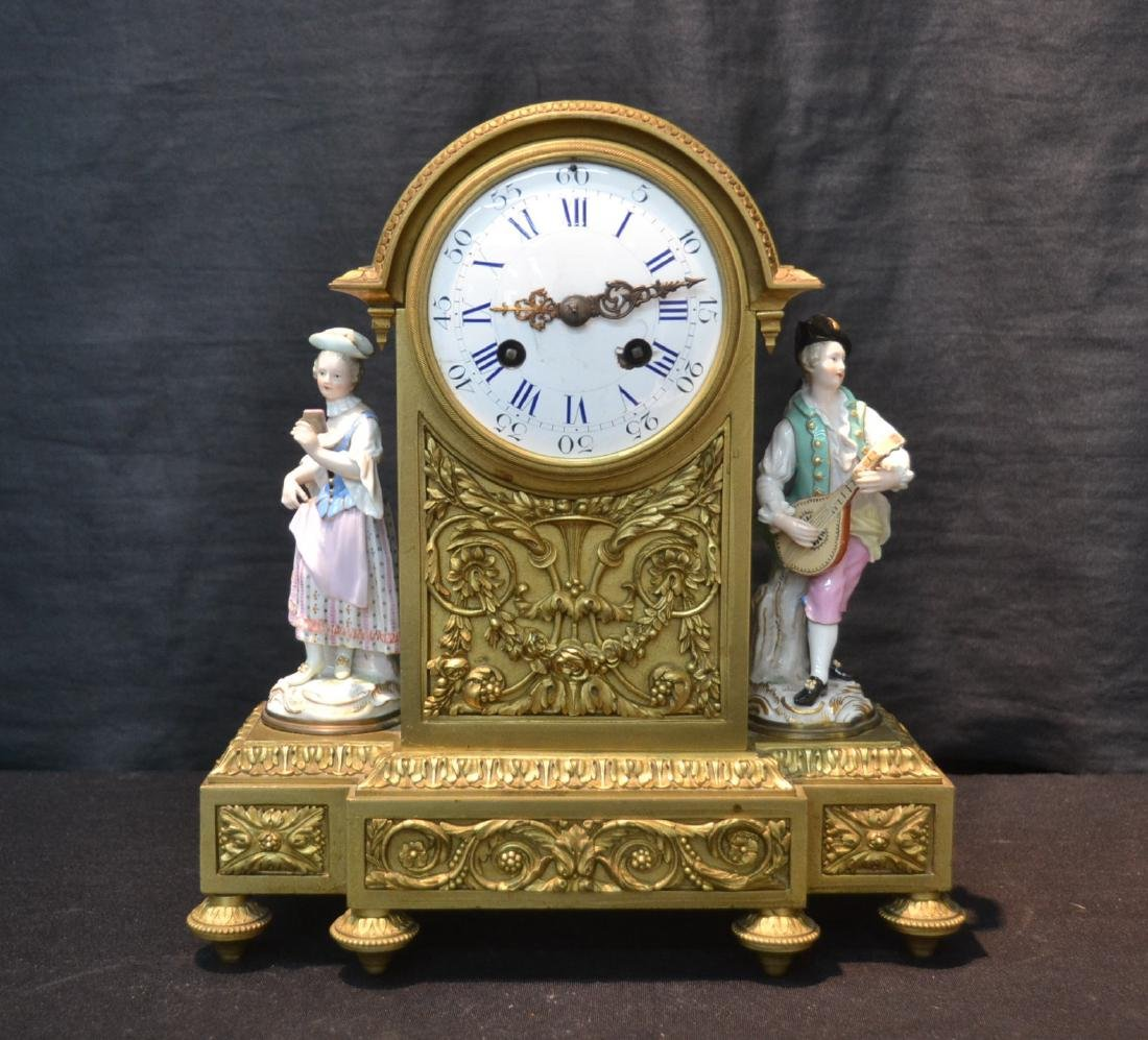 FRENCH BRONZE MANTLE CLOCK WITH
