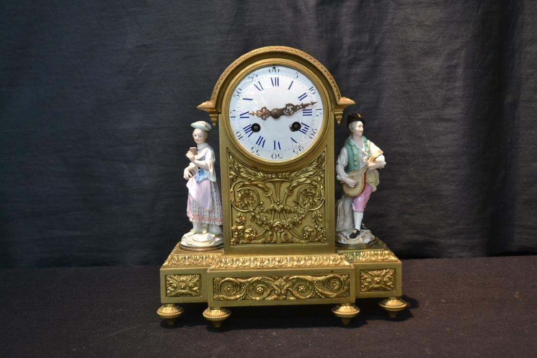 FRENCH BRONZE MANTLE CLOCK WITH - 2