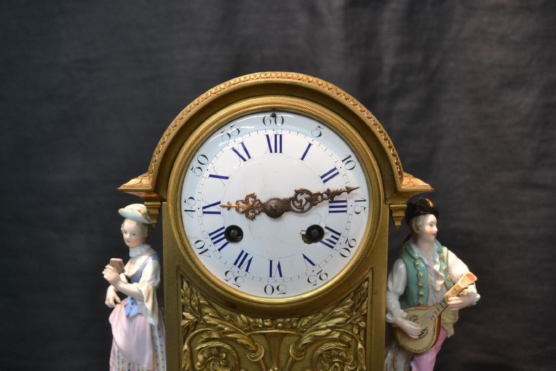 FRENCH BRONZE MANTLE CLOCK WITH - 3