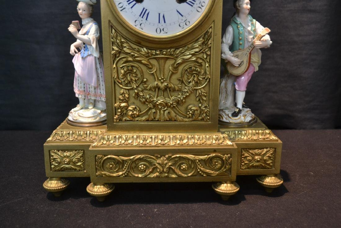 FRENCH BRONZE MANTLE CLOCK WITH - 4