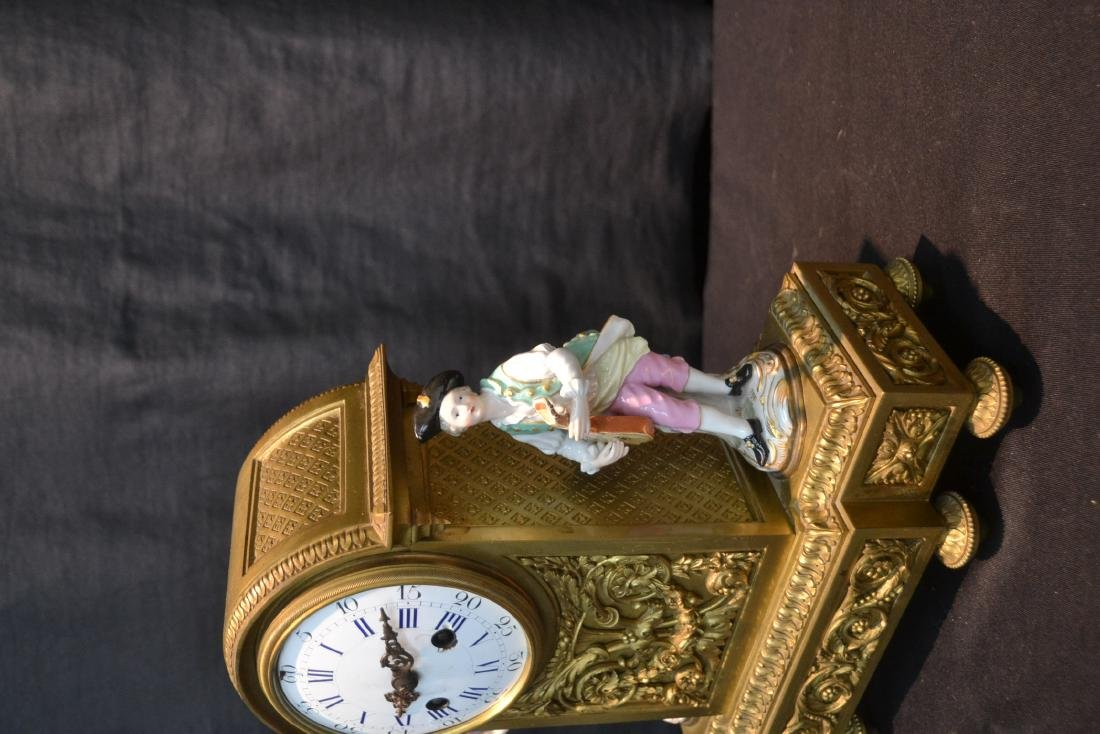 FRENCH BRONZE MANTLE CLOCK WITH - 5
