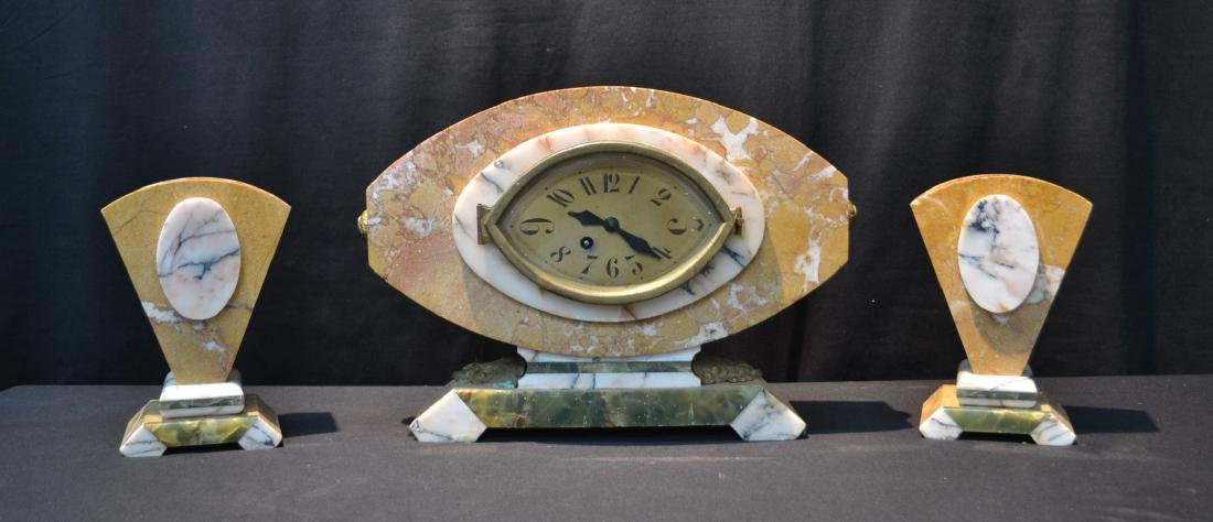 (3)pc FRENCH DECO TRI COLOR MARBLE CLOCK SET